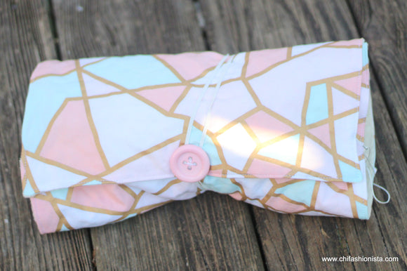 Coral and Gold Changing Pad Clutch