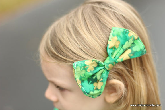 St. Patrick's Day Fabric Hair Bow