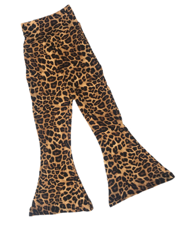 Leopard Bell Bottom Knit Pants