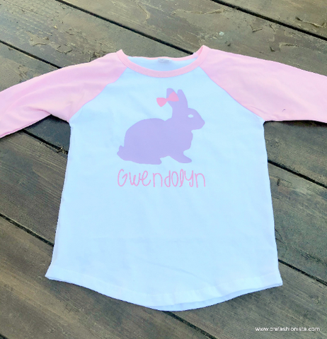 Girlie Personalized Easter Raglan