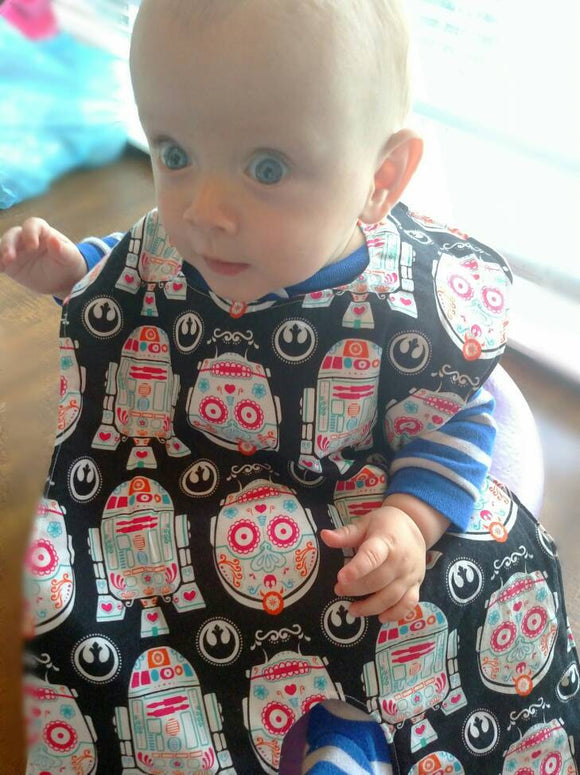 Handcrafted Children's Clothing, Clothing for Children and Parents, Sugar Skull Body Bib/ Sugar Skull Droids Bibs, chi-fashionista