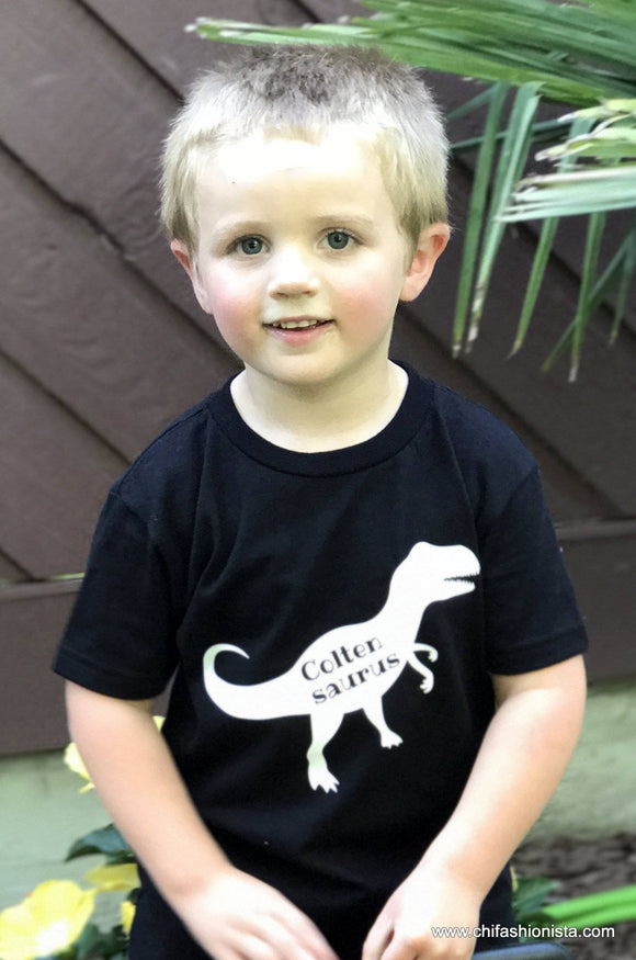 Handcrafted Children's Clothing, Clothing for Children and Parents, Dinosaur Name Shirt, chi-fashionista