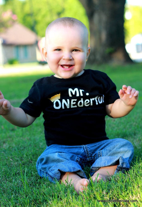 Handcrafted Children's Clothing, Clothing for Children and Parents, Mr. Onederful- First Birthday Shirt, chi-fashionista