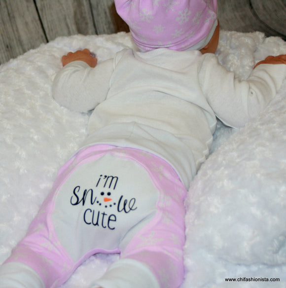 I'm Snow Cute Clothing Set: Knot Hat, Body Suit, & Grow with Me Pants