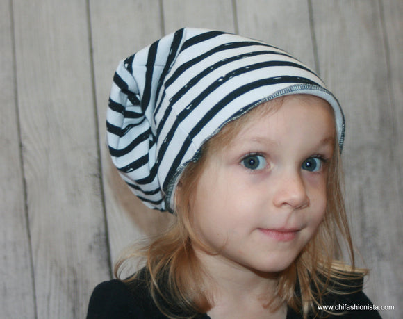 Black and White Striped Slouchy Beanie
