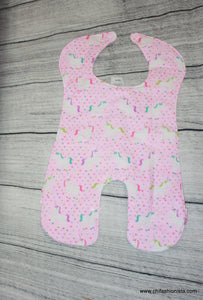 Handcrafted Children's Clothing, Clothing for Children and Parents, Pink Unicorn- Body Bib, chi-fashionista