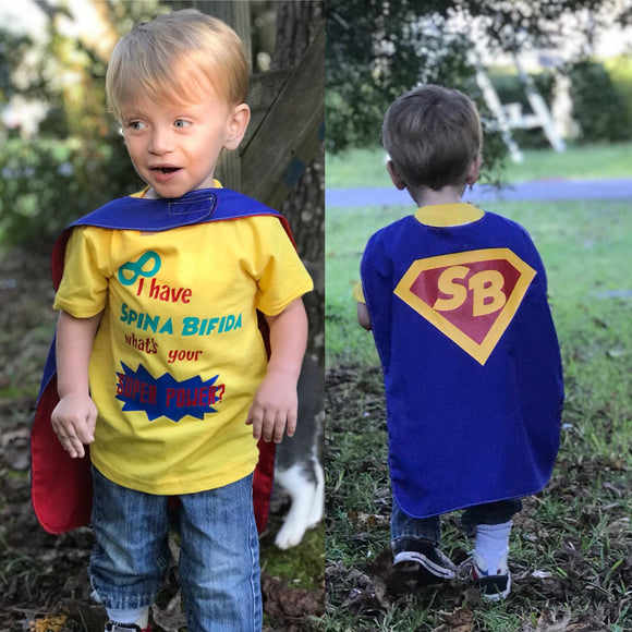 Handcrafted Children's Clothing, Clothing for Children and Parents, Spina Bifida Hero Cape - Super Hero Cape for Special Needs Kids, chi-fashionista