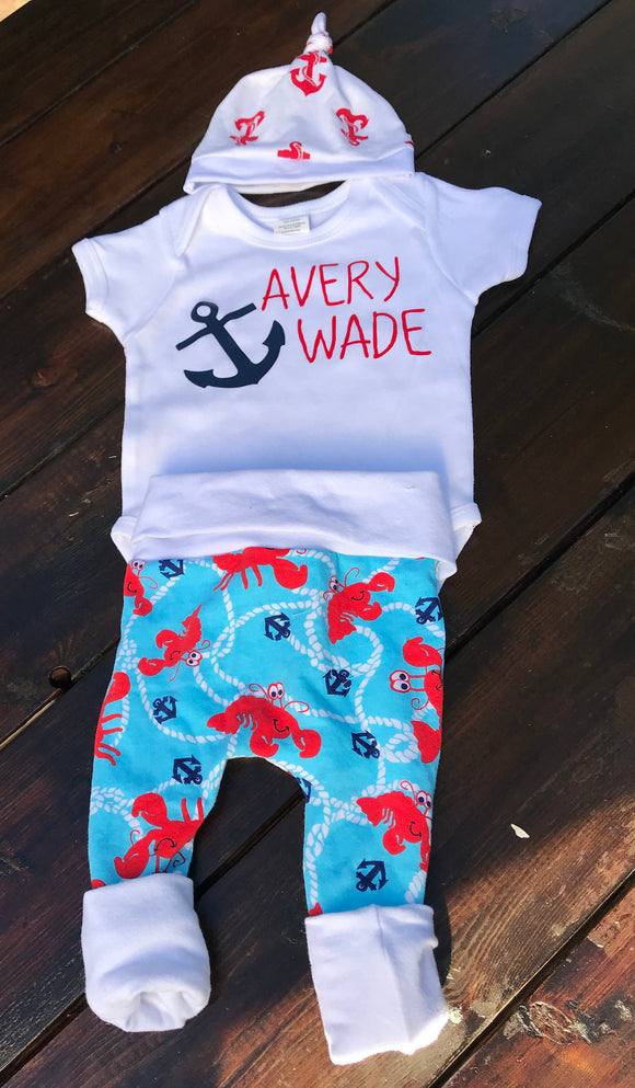 Handcrafted Children's Clothing, Clothing for Children and Parents, Nautical Birth Announcement-Baby Name Shirt, chi-fashionista