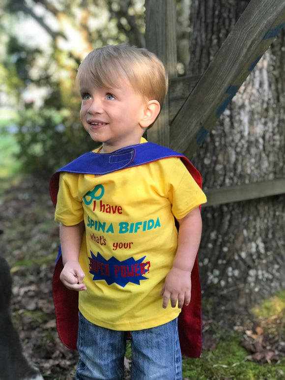 Handcrafted Children's Clothing, Clothing for Children and Parents, Spina Bifida Awareness Shirt - Super Hero inspired Special Needs Awareness shirt, chi-fashionista