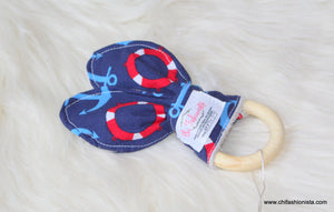 Sensory Teething Ring- Nautical Anchors