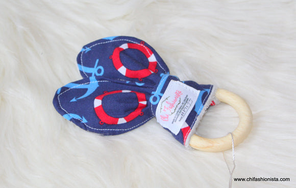 Handcrafted Children's Clothing, Clothing for Children and Parents, Sensory Teething Ring- Nautical Anchors, chi-fashionista