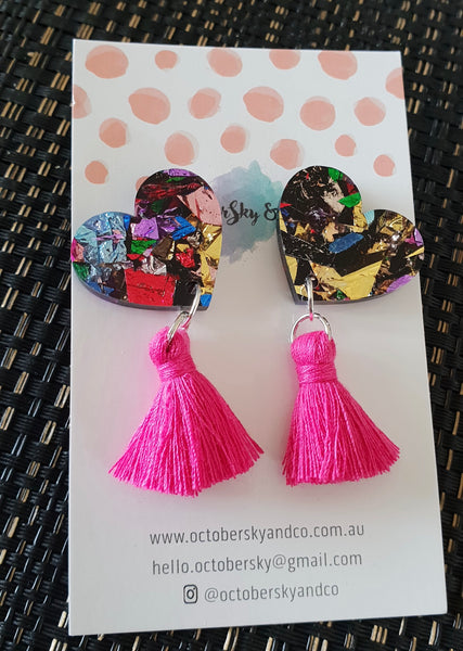 Aroha Angled Statement Studs With Tassels - CHOOSE COLOUR