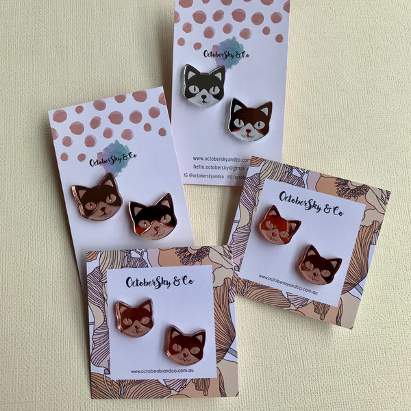 Feline Mini Studs - CHOOSE COLOUR
