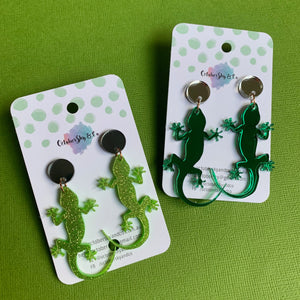 Gecko on the Wall Dangles - CHOOSE COLOUR