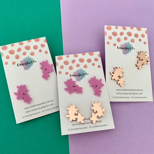 Troppo Triple Flora Studs - CHOOSE COLOUR & TYPE