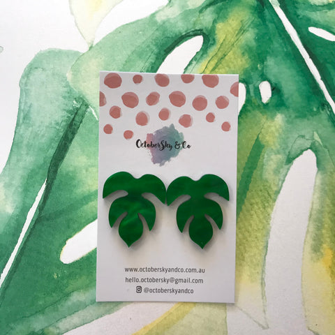 Borneo Palm Leave Statement Studs - CHOOSE COLOUR + STYLE