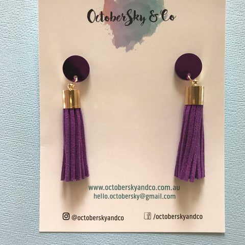 AFL WA Club Fremantle Dockers Tassel Earrings