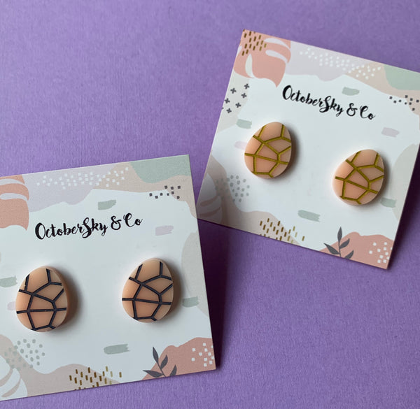MADE TO ORDER: EASTER EGG GEO LINES STUDS - CHOOSE COLOUR