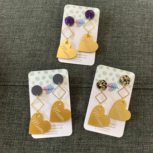 MUM HEART DANGLES PEARLISED GOLD - CHOOSE STUD TOP