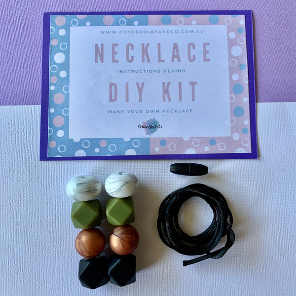 DIY AT HOME KIT: SILICONE & ACRYLIC BEAD NECKLACE - CHOOSE COLOUR