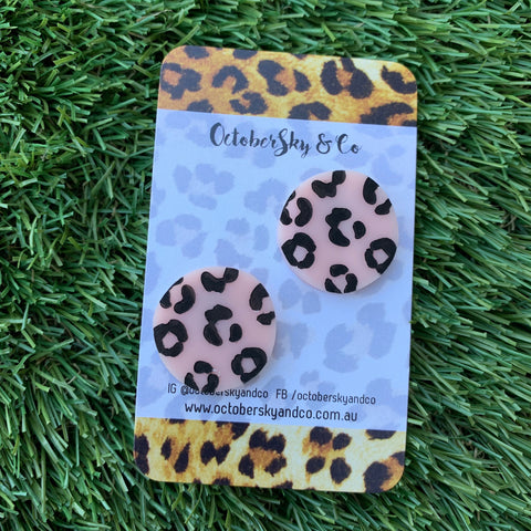 *PRE-ORDER* Leopard Spots Studs in Blush Pink - CHOOSE SPOTS COLOUR
