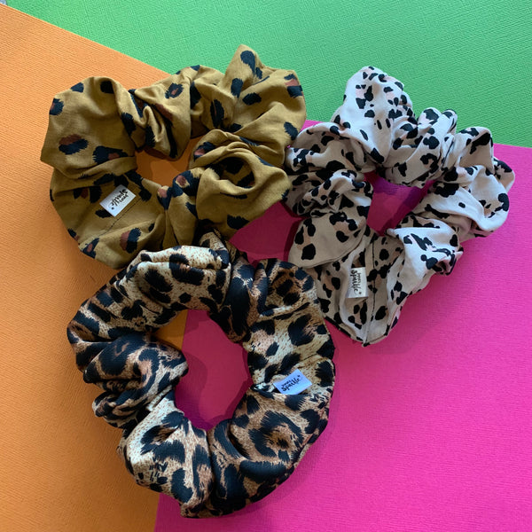 **PRE-ORDER** CLASSIC BROWN + BLACK LEOPARD PRINT SCRUNCHIE