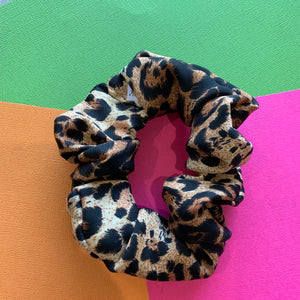 CLASSIC BROWN + BLACK LEOPARD PRINT SCRUNCHIE