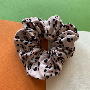 BLUSH PINK + BLACK LEOPARD PRINT SCRUNCHIE
