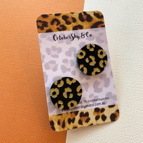 *PRE-ORDER* Leopard Spots Studs in Matte Black - CHOOSE SPOTS COLOUR