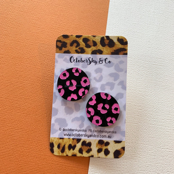Leopard Spots Statement Studs in Matte Black - CHOOSE SPOTS COLOUR