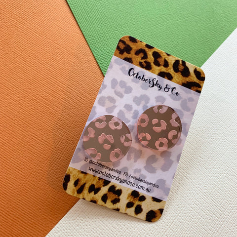 LEOPARD PRINT STATEMENT STUDS - ROSE GOLD MIRROR