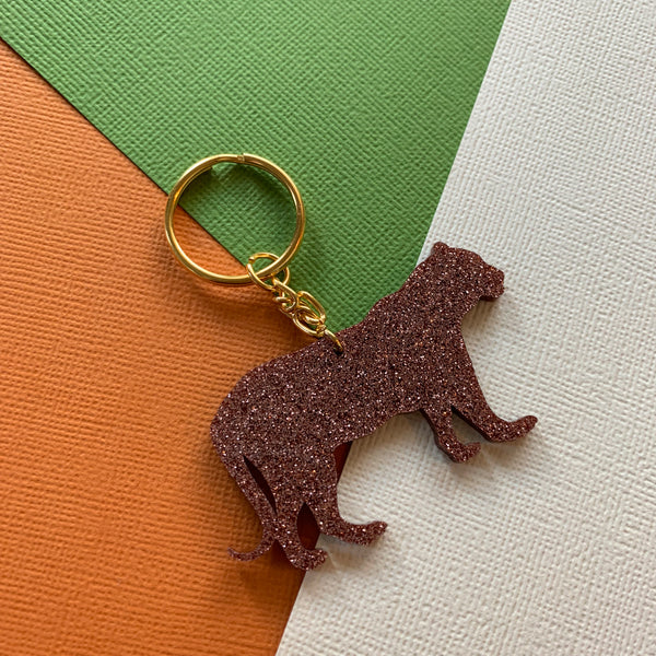 RUNNING LEOPARD GLITTER KEYRINGS - CHOOSE COLOUR