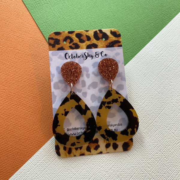 VARIOUS LEOPARD INSPIRED DANGLES OOAK - SELECT OPTIONS