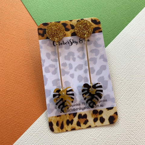 DAINTY LUXE LEOPARD DANGLES - CHOOSE COLOUR