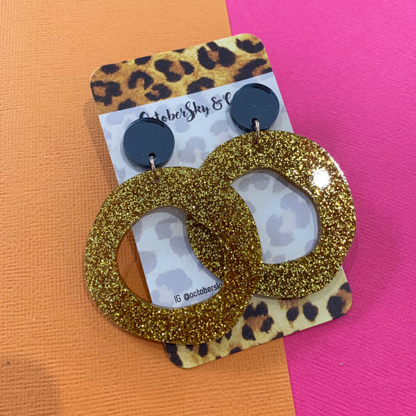 ORGANIC LUXE GLITTER HOOP DANGLES - CHOOSE COLOUR