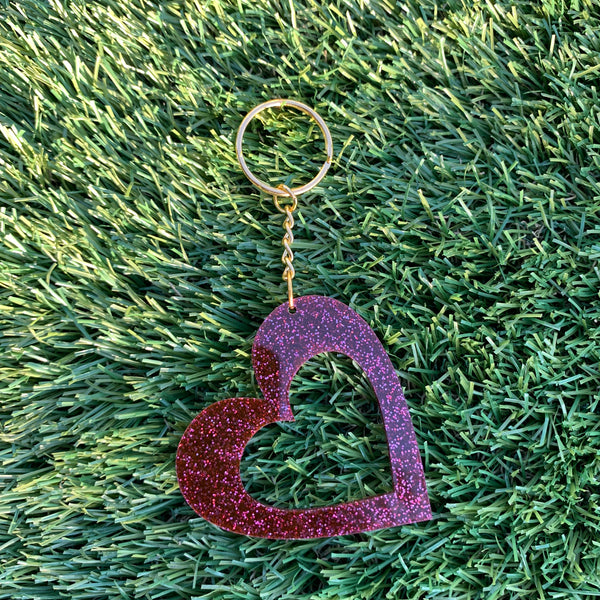 Aroha Mega Glitter Heart Keyrings - CHOOSE COLOUR