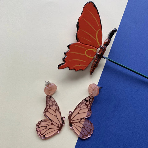 Flutterby Dangles - Rose Gold Mirror