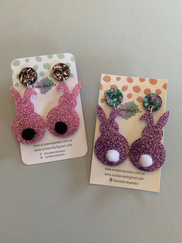 HUNNY BUNNY DANGLES (Pom Pom Tail) - CHOOSE COLOUR