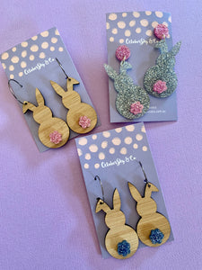HUNNY BUNNY DANGLES &  HOOPS (Acrylic Tail) - CHOOSE COLOUR/STYLE