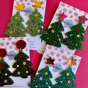 ROCKIN' Around the Glitzmas Tree Dangles – 2 sided glitter - MADE TO ORDER - CHOOSE DESIGN & COLOUR