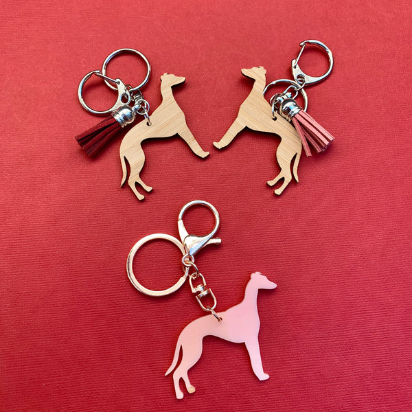 Greyhound Keyring - CHOOSE COLOUR