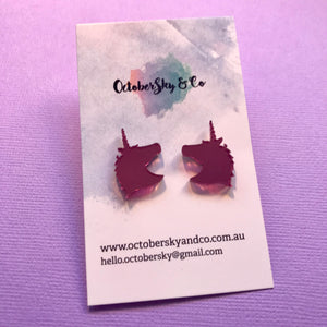 My Gorgeous Unicorn Face Studs - CHOOSE COLOUR