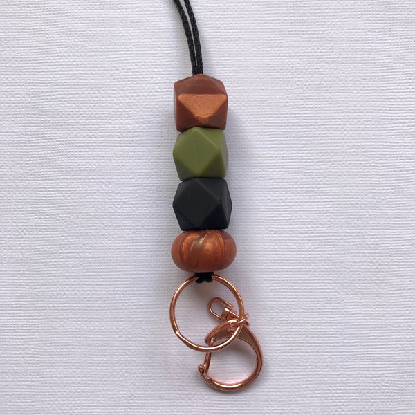 Khaki + Rose Copper Luxe Lanyard