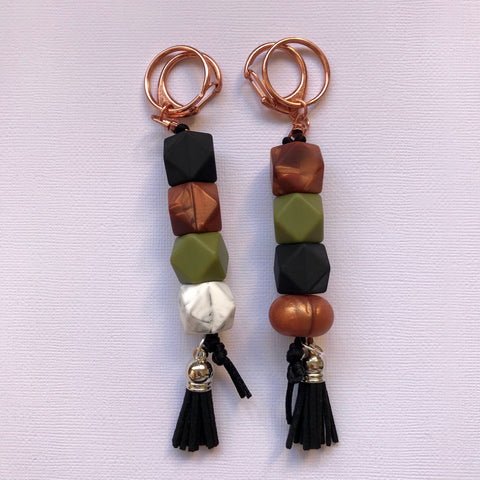 Khaki + Rose Copper Luxe Keyring