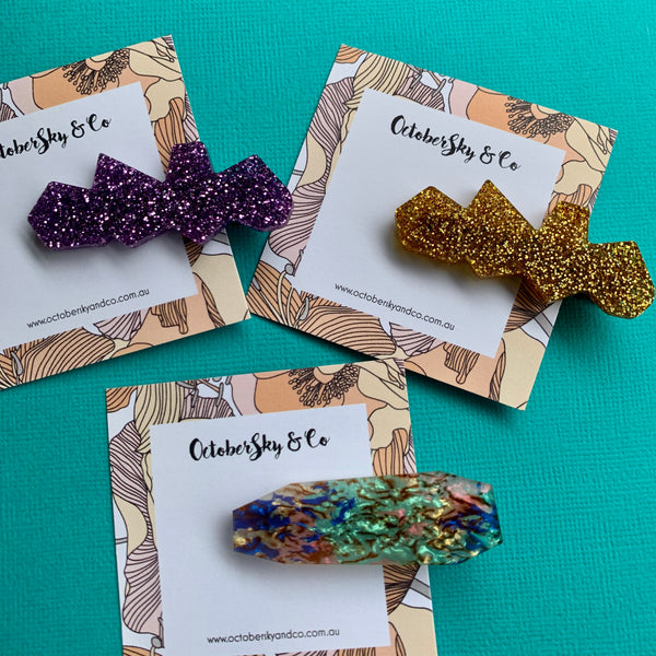 ASSORTED ALLIGATOR HAIR CLIPS - CHOOSE COLOUR