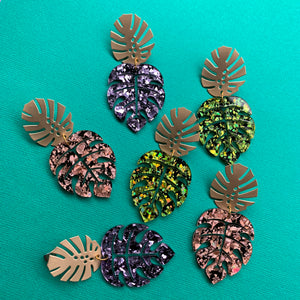 Troppo Luxe Monstera Dangles - CHOOSE COLOUR