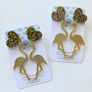 Loved Up Flamingo Flo Dangles - CHOOSE COLOUR