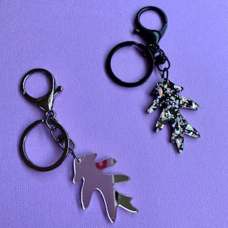 Feuille Keyring (Silver) - CHOOSE COLOUR (MADE TO ORDER)
