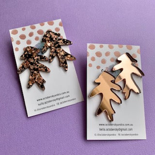 Feuille Statement Studs (Rose Gold) - CHOOSE COLOUR (MADE TO ORDER)