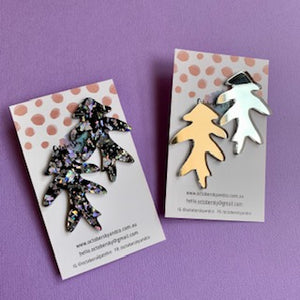 Feuille Statement Studs (Silver) - CHOOSE COLOUR (MADE TO ORDER)